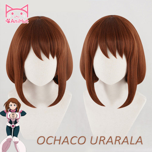 AniHut Ochako Uraraka Wig Boku No Hero Academia Cosplay Wig Synthetic Red Brown Bob Short Hair My Hero Academia Heat Resistant Synthetic