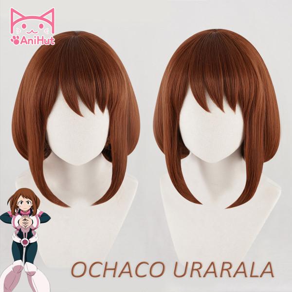 AniHut Ochako Uraraka Wig Boku No Hero Academia Cosplay Wig Synthetic Red Brown Bob Short Hair My Hero Academia Heat Resistant Synthetic