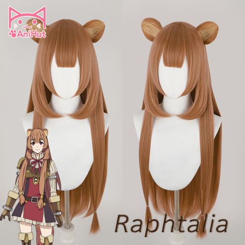 Anihut Tate no Yuusha no Nariagari Raphtalia Cosplay Wig with EARS Straight Brown Wig The Rising of the Shield Hero Cosplay