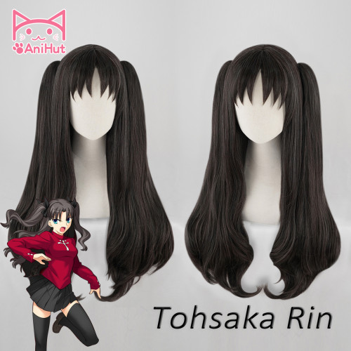 AniHut Tohsaka Rin Wig Fate Grand Order Cosplay Wig Black Long Straight Hair