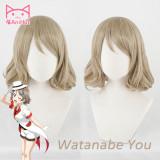 AniHut Watanabe You Wig Love Live Sunshine Lovelive Aqours Cosplay Wig Blonde Hair