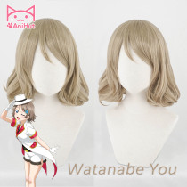 AniHut Watanabe You Wig Love Live Sunshine Lovelive Aqours Cosplay Wig Blonde Hair