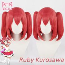 Anihut Anime Cosplay Wig Ruby Kurosawa Love Live Sunshine Hair Women Red Synthetic Hair