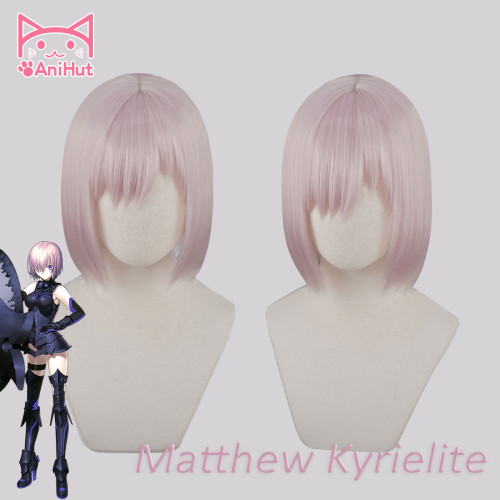 AniHut Matthew Kyrielite Wig Fate Grand Order Cosplay Wig Pink Short Synthetic Women Hair Anime Fate Grand Order Cosplay Hair