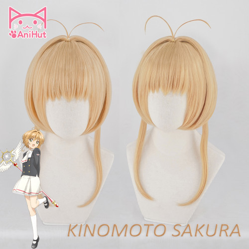 AniHut Kinomoto Sakura CardCaptor Cosplay Wig Women Brown 30cm Synthetic Hair Anime Card Captor Sakura Cosplay Wig CardCaptor