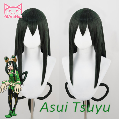 AniHut Tsuyu Asui Wig Boku No Hero Academia Cosplay Wig My Hero Academia Cosplay Hair
