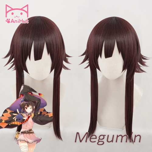 AniHut Megumin Cosplay Wig Anime God's Blessing on this Wonderful World Synthetic Dark Red Hair Cosplay Halloween Costumes Hair