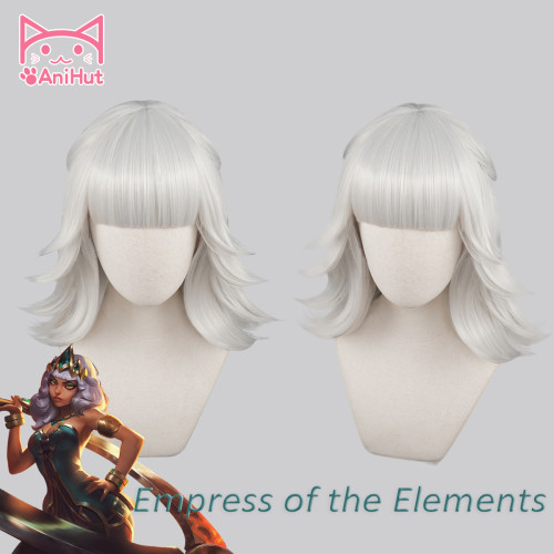 Anihut Game LOL QIYANA Cosplay Wig Empress of the Elements Cosplay Wigs Women Long Silver Wig Qiyana Cosplay Hair