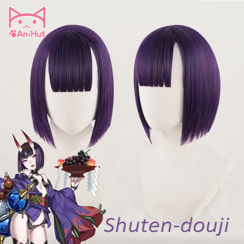 AniHut Shuten Douji Cosplay Wig Game Fate Grand Order FGO Wig Synthetic Purple Women Hair Shuten Douji Cosplay