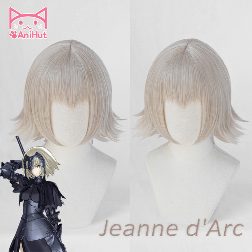 AniHut Alter Jeanne d'Arc Wig Short Ver Fate Grand Order Cosplay Wig 30cm Gray Pink Hair Two Version