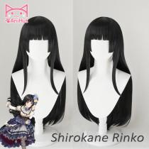 AniHut Shirokane Rinko Wig Game BanG Dream! Cosplay Wig Black Synthetic Women Hair Anime BanG Dream Shirokane Rinko Costume