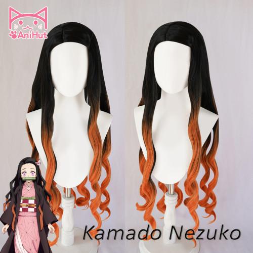 AniHut Kamado Nezuko Wig Kimetsu no Yaiba Demon Slayer Cosplay 75cm Synthetic Heat Resistant Hair Kamado Nezuko Cosplay