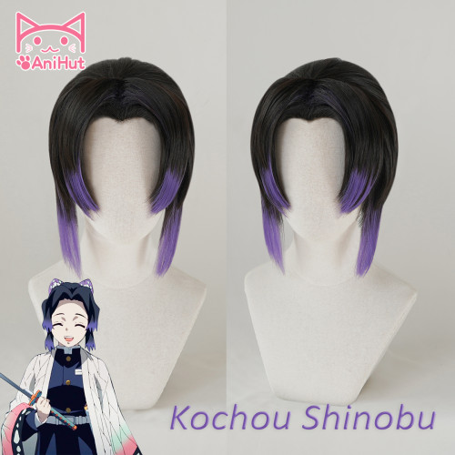 AniHut Kochou Shinobu Wig Kimetsu no Yaiba Demon Slayer Cosplay 32cm Women Hair Synthetic Heat Resistant Hair Kochou Shinobu Cosplay
