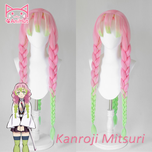 AniHut Kanroji Mitsuri Wig Kimetsu no Yaiba Demon Slayer Cosplay 80cm Pink Light Green Synthetic Heat Resistant Hair Kanroji Mitsuri Cosplay