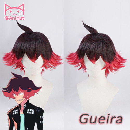 AniHut Gueira Wig Anime PROMARE Cosplay Wig Black Red Synthetic Heat Resistant Women Hair Halloween Gueira Cosplay