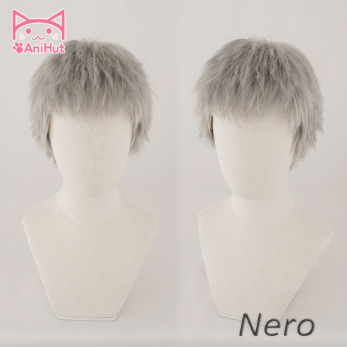 AniHut Nero Gray Silver Gray Wig Cosplay Short Straight Hair Synthetic Heat Resistant Hair New Game Devil May Cry 5 Nero Cosplay
