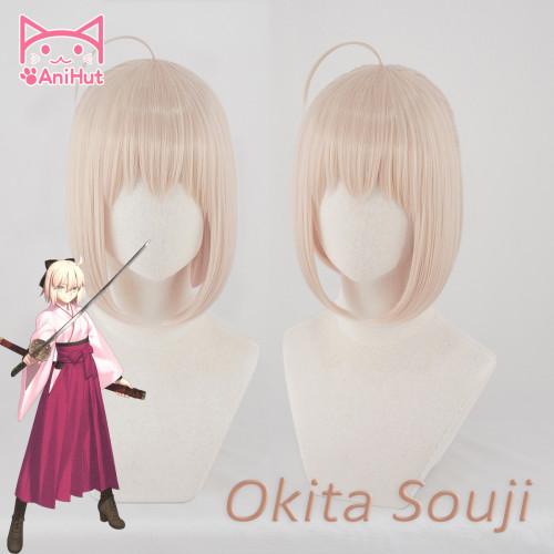 AniHut Okita Souji Wig Fate Grand Order Cosplay Wig Short Synthetic Women Hair Anime Fate Grand Order Cosplay Wigs Okita Souji