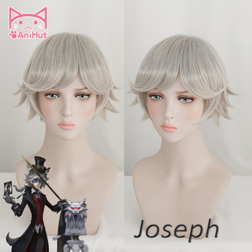 AniHut Hunter Photographer Joseph Wig with two Ears Game Identity V Cosplay Synthetic Hair Moonlight Gentleman Joseph Costume