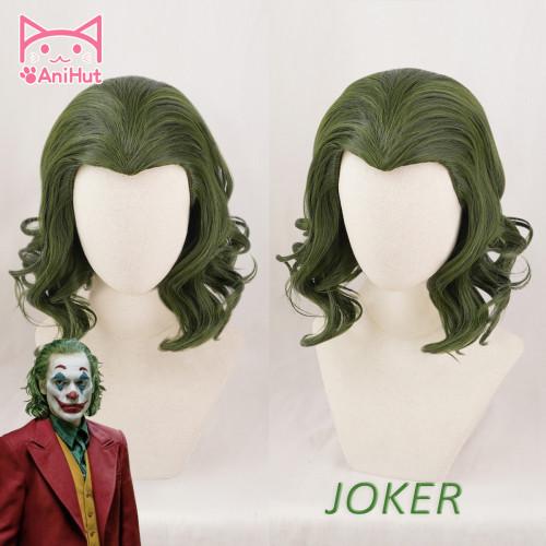 AniHut Joker Arthur Fleck Cosplay Wig 2019 Movie Joker Joaquin Phoenix Synthetic Green Curly Hair Joker Halloween Costumes Hair