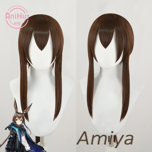 Anihut Amiya Cosplay Wig Game Arknights Heat Resistant Synthetic Brwon Cosplay Hair Amiya