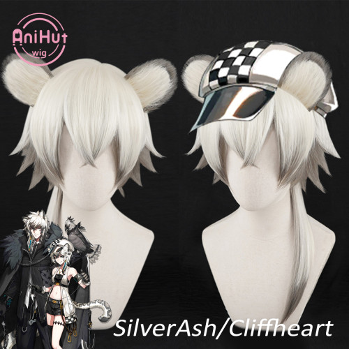 Anihut SilverAsh Cliffheart Cosplay Wig with Ears Game Arknights Heat Resistant Synthetic Cosplay Hair SilverAsh Cliffheart