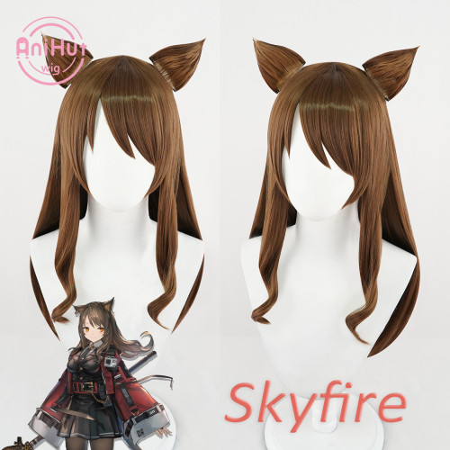 Anihut Skyfire Cosplay Wig with Ears Game Arknights Women Heat Resistant Synthetic Brown Cosplay Hair Skyfire