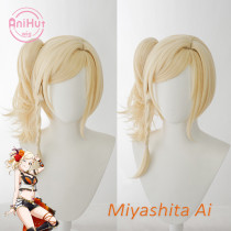 Anihut Miyashita Ai Cosplay Wig PERFECT DREAM PROJECT Cosplay Blonde Hair Miyashita Ai LoveLive PDP
