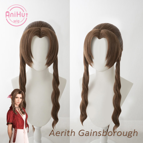 AniHut Gainsborough Aerith Wig Final Fantasy VII Remake Cosplay Brown Synthetic Heat Resistant Hair Aerith Cosplay Wig