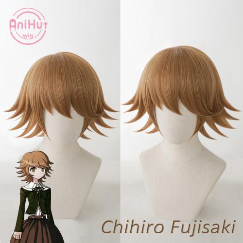 AniHut Chihiro Fujisaki Wig Danganronpa Cosplay Wig Game Cosplay Hair Synthetic Heat Resistant Women Hair Fujisaki Chihiro