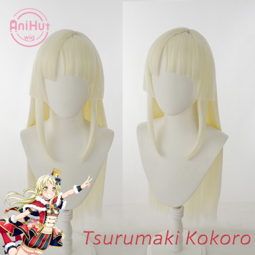 AniHut Tsurumaki Kokoro Wig BanG Dream! Hello, Happy World Cosplay Wig Synthetic Women Hair Bandori Cosplay Tsurumaki Kokoro