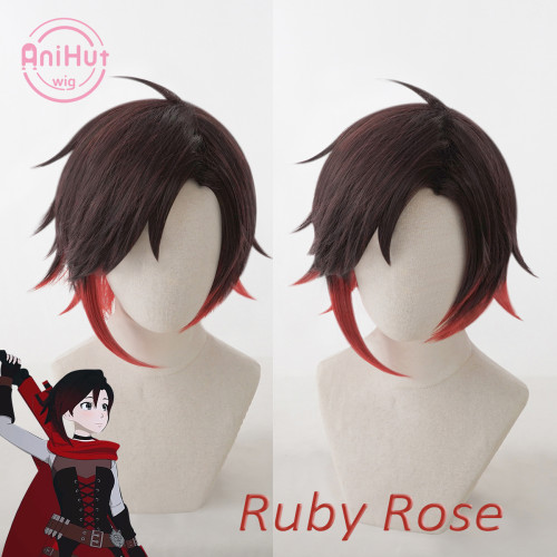 AniHut RWBY Ruby Rose Wig Season 7 New version Heat Resistant Synthetic Cosplay Hair Anime RWBY Cosplay Wig Ruby Rose