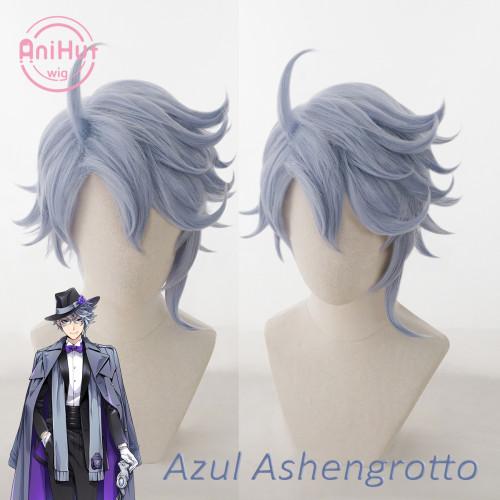 AniHut Azul Ashengrott Cosplay Wig Game Twisted Wonderland Cosplay Blue Heat Resistant Synthetic Hair Azul Ashengrott Cosplay