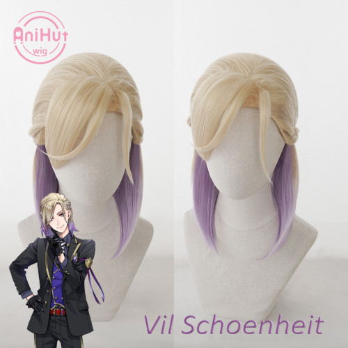 AniHut Vil Schoenheit Cosplay Wig Game Twisted Wonderland Cosplay Blonde Purple Heat Resistant Synthetic Hair with Braids