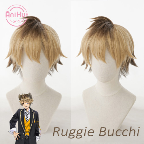 AniHut Ruggie Bucchi Cosplay Wig Game Twisted Wonderland Cosplay Heat Resistant Synthetic Hair Ruggie Bucchi Cosplay