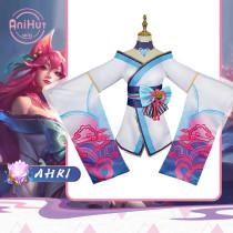 Anihut Spirit Blossom Ahri LOL League of Legends Cosplay Costume Spirit Blossom Ahri Women Halloween Costume Dress