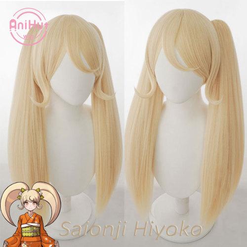 AniHut Saionji Hiyoko Wig Danganronpa Cosplay Synthetic Heat Resistant Women Blonde Hair Hiyoko Saionji