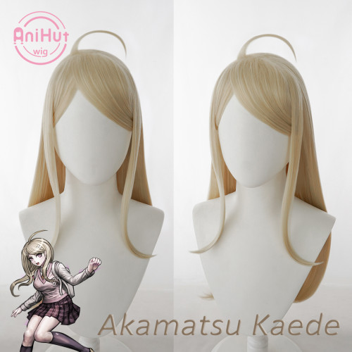 AniHut Kaede Akamatsu Wig Danganronpa Cosplay Synthetic Heat Resistant Women Blonde Hair Akamatsu Kaede