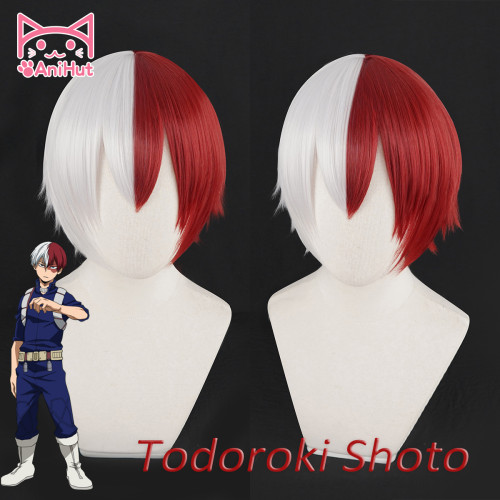 AniHut Shouto Todoroki Boku No Hero Academia Cosplay Wig Short Red/White Hair My Hero Academia Wig