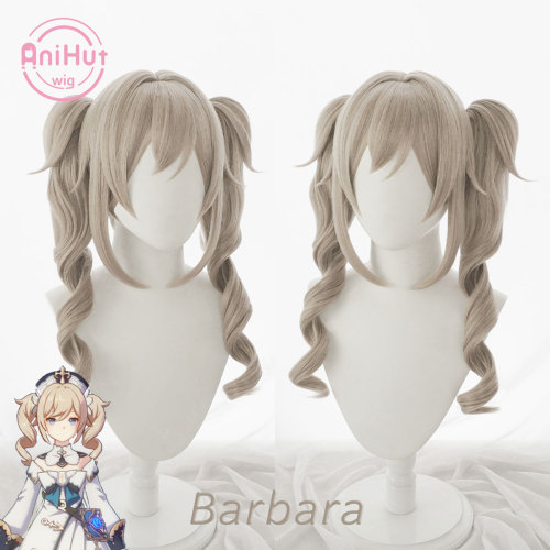 AniHut Barbara Cosplay Wig Genshin Impact Cosplay Light Brown Bunches Heat Resistant Synthetic Hair Barbara Halloween Cosplay