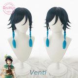 AniHut Venti Cosplay Wig Genshin Impact Cosplay Black Blue Heat Resistant Synthetic Hair Venti Halloween Cosplay