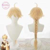 AniHut Aether Cosplay Wig Genshin Impact Traveler Cosplay Yellow Heat Resistant Synthetic Hair Aether Halloween Cosplay