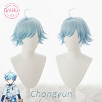 AniHut Chongyun Cosplay Wig Genshin Impact Cosplay Blue Heat Resistant Synthetic Hair Chongyun Halloween Cosplay