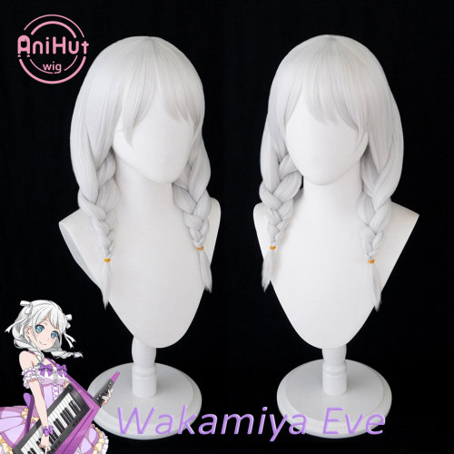 AniHut Wakamiya Eve Wig BanG Dream! Pastel*Palettes Cosplay Wig Synthetic Women White Bandori Cosplay Eve Wakamiya