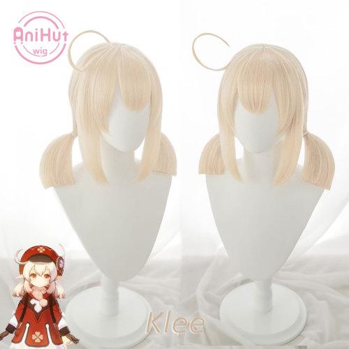 AniHut Klee Cosplay Wig Genshin Impact Cosplay Blonde Heat Resistant Synthetic Hair Klee Halloween Cosplay