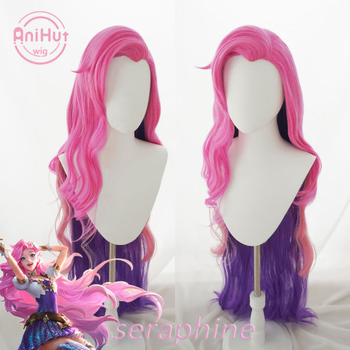 Anihut Seraphine Cosplay Wig Game LOL KDA League of Legends Women Pink Mixed Purple 90cm Seraphine Wave Cosplay Wig
