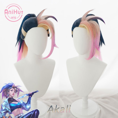 Anihut Akali Cosplay Wig Game LOL KDA The Baddest League of Legends Women Akali Ponytail Halloween Cosplay Hair