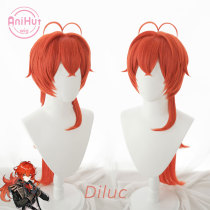 AniHut Diluc Cosplay Wig Genshin Impact Cosplay Red Heat Resistant Synthetic Hair Diluc Halloween Cosplay