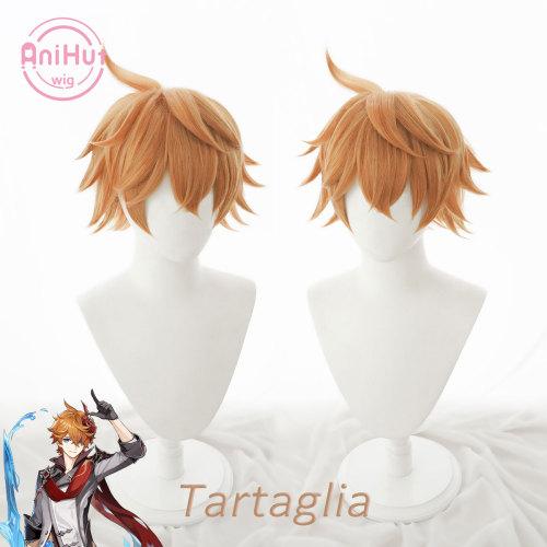 AniHut Tartaglia Childe Cosplay Wig Genshin Impact Cosplay Orange Heat Resistant Synthetic Hair Tartaglia Halloween Cosplay
