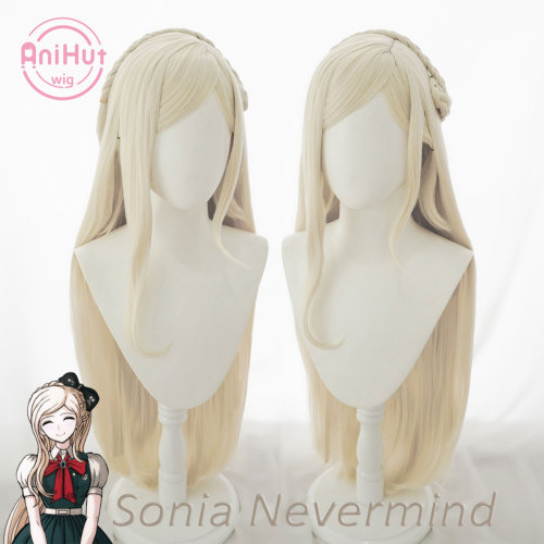 AniHut Sonia nevermind Wig Danganronpa Cosplay Synthetic Heat Resistant Women Blonde Hair Sonia nevermind Cosplay