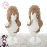 AniHut Lisa Cosplay Wig Genshin Impact Cosplay Brown Heat Resistant Synthetic Hair Lisa Halloween Cosplay